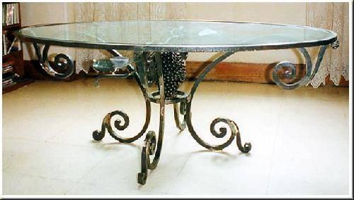Table Basse En Fer Forg 233 Feuille Et Pieds De Vigne