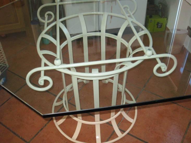 Table et chaise en fer forge et verre ferronnier var 83 - Table en verre fer forge et chaises ...