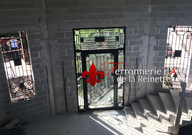 ... Fabrication Porte Du0027entrée En Fer Plein Et Verre A Vallauris Var